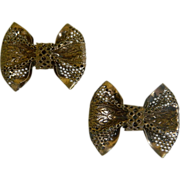 1920's Gold Colored Metal Shoe Bows