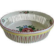 Vintage Oval Lattice Hand Painted Three Footed Bread Bowl, France