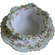 M Z Austria Antique Finger Bowl with Under Plate, 1884 - 1909