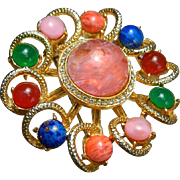 SALE Vintage Gold Tone Brooch with Art Glass Cabochon Stones