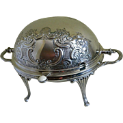 Victorian Electroplated Silver Barker Bros Birmingham, England Roll Back Lid Serving Dish and