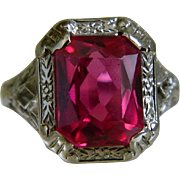 SOLD 14k White Gold La France Art Deco Ring with Simulated Ruby Stone Size 5 3/4
