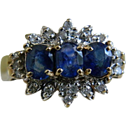 SALE Vintage 10k Yellow Gold Ring with Three Sapphires Surrounded by Little Diamonds