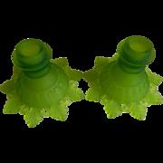 SALE Vintage Westmoreland Glass Misty Green Candleholders