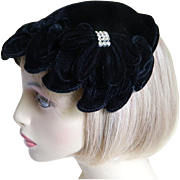 The Little Black Velvet Hat 1940's - 1950's