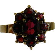 SALE 8k Yellow Gold Natural Garnet Ring, Germany, Size 6 1/2