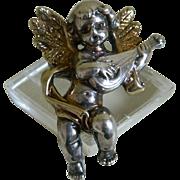 SALE Vintage Signed Sterling Silver Angel Brooch and Pendant