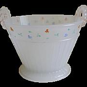 1920's Clam Broth Glass Basket Vase