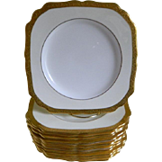 SALE Vintage Minton England Square Gold Encrusted Plates, Set of 12, Made for The Alex ...