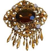 Czech Glass Brooch with Faux Pearls, 1940's -1950's