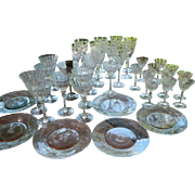 1920's Czech Cut Glass Stemware and Plates, Set of 36