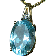 SALE Vintage 14 k  Yellow Gold Necklace with a Genuine Aquamarine and Diamond