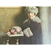 Framed Photograph Hand Colored on Board 1910 - 1920 Darling Little Girl in Beret, Coat, and Mu