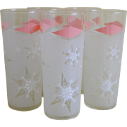 SALE Vintage Anchor Hocking Retro Snowflake Frosted Glass Tumblers, 1961 Set of 5