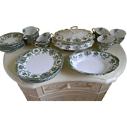 29 Piece Set Wedgwood & Co. England Semi Royal Porcelain Green Transfer Ware Raleigh, 1892  ..