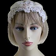 Ivory Lace Juliet Cap Veil, 1920's - 1930's