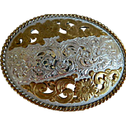 SALE Vintage Crumrine Heavy Silver Plate Oval Flowered Belt Buckle