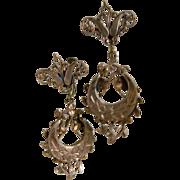 Brass Victorian Screw Back Dangling Earrings