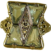 Art Deco Aquamarine and Diamond 14 k White Gold Ring Size 6 1/4
