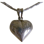 SALE Vintage Sterling Silver Necklace with Etched Puffy Heart Pendant