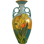 Art Nouveau Limoges Hand Painted Vase, Early 1900's