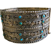 SALE Vintage Unique Brass Cuff Bracelet with Turquoise Stone Beads