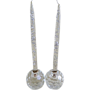 A Pair of Lucite Acrylic Candle Sticks with Crystal Candle Holders, 1970's