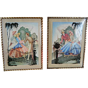 SALE Vintage Pair of Silhouette Reverse Painted Pictures with Convex Glass