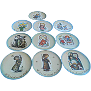 SALE Vintage Set of 10 Hummel Schmid West Germany Christmas Collector China Plates