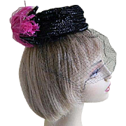 Vintage Hat with Veil Miss Sally Victor New York 1950's