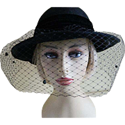 SALE Vintage Madcaps New York Black Wool Felt Hat with Veil 1960's