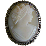 Oval Shell Cameo Brooch and Pendant