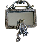 SALE Vintage Sterling Silver Frog Looking into a Mirror Brooch Mexico