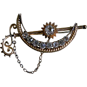 SALE Antique Victorian Crescent Moon and Stars Brooch 1890's