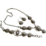 SALE Vintage Italian 800 Silver Filigree Necklace, Bracelet, and Pierced Earrings