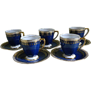Vintage Spode Copeland Demitasse Cups and Saucers, Pattern Ryde Blue and White with Gold ...