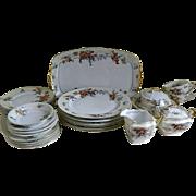 Vintage Epiag Royal Czechoslovakia Silver Maple China, Set of 29 Pieces