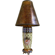 Vintage 1930's Metal and Pottery Boudoir Lamp with an Amber Mica Shade