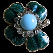 SALE Vintage  Enamel Shamrock Pin