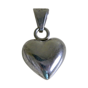 Sterling Silver, 925, Puffy Heart Pendant Taxco Mexico