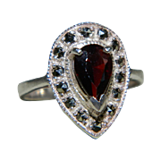 """925 Sterling Silver Tear Drop Ring with Center Garnet Surrounded by Marcasites, Size 5 1/2"""""""