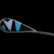 Modern Design Blue,White and Black Inlaid Stone Stick Pin 1960-1980