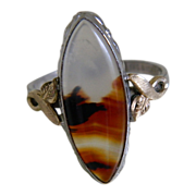 Clark & Coombs Sterling 10k G. F. Ring with Agate , Size 6 1/2