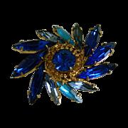 SALE Vintage Brass Czech Brooch with Sparkling Blue Rhinestones