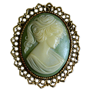 Lovely Faux Cameo Pendant/Brooch Mid-Century