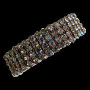 1950's Expandable Bracelet with Four Rows of Aura Borealis Rhinestones