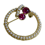 SALE Vintage Circle Pin with Faux Pearls and Red Rhinestones 1960's