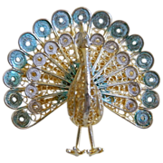 800 Silver, Italy, Peacock Brooch with Some Plique a Jour Enameling