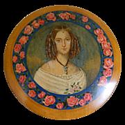 SALE Beautiful Treen Round Box with Portrait Germany