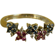 SALE Vintage 18kt 750 White Gold Ring with Sapphires, Rubies and Diamonds